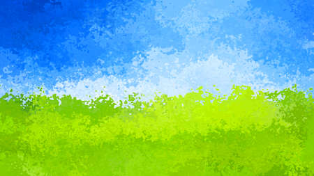 abstract stained pattern texture rectangle background blue sky over green landscape color - modern painting art - watercolor effect