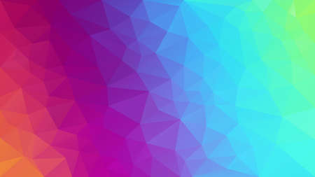 vector abstract irregular polygonal background - triangle low poly pattern - full color spectrum neon rainbow - diagonal gradient Illustration