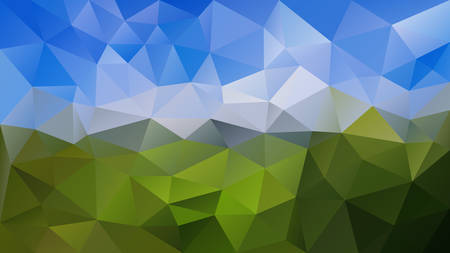 vector abstract irregular polygonal background - triangle low poly pattern - sky blue over green colored landscape