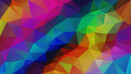 vector abstract irregular polygonal background - triangle low poly pattern - neon vivid bright rainbow full color spectrum