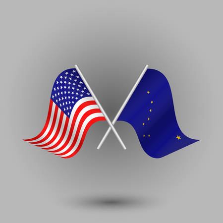 vector two crossed american and flag of alaska on silver sticks - symbols of united states of america usa