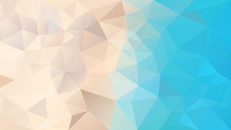 vector abstract irregular polygonal background - triangle low poly pattern - top view on the beach - light sand beige and turquoise lagune blue color