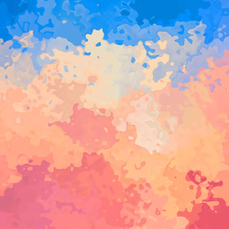 abstract stained pattern texture square background salmon pink, peach orange and sky blue color - modern painting art - watercolor effect Stock Photo
