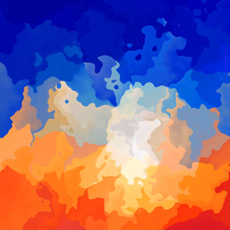 abstract stained pattern texture square background hot orange and sky blue color - modern painting art - watercolor effect