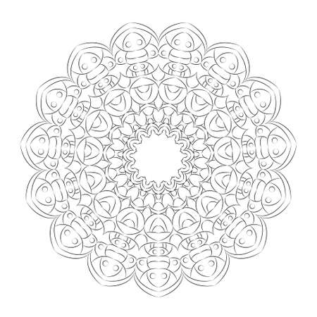 vector black and white circular round simple mandala hand drawing style - adult coloring book page