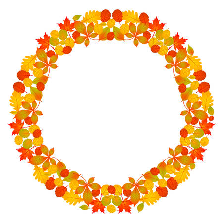 Vector de color circular marco redondo mandala otoño hojas de otoño: rojo, naranja, amarillo y verde color vibrante sobre fondo blanco. Ilustración de vector