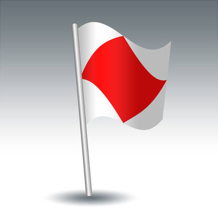 vector waving maritime signal flag F Foxtrot on slanted metal silver pole - symbol of I am disabled, communicate with me - white and red color
