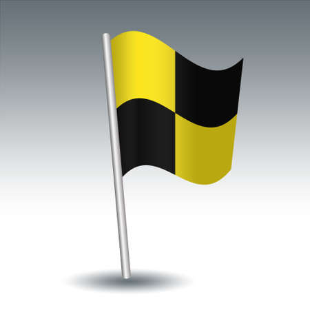 vector waving maritime signal flag L Lima on slanted metal silver pole - symbol of The ship is quarantined, You should stop your vessel instantly - yellow and black color