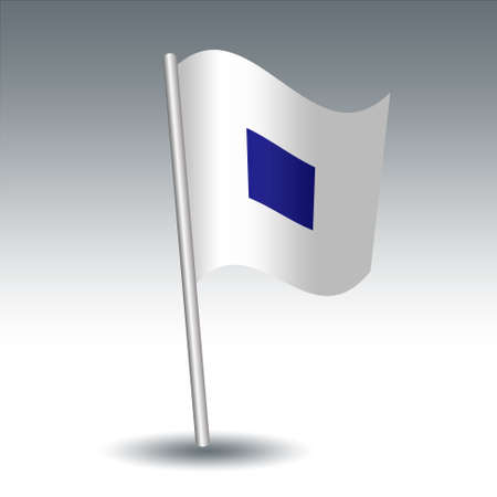vector waving maritime signal flag S Sierra on slanted metal silver pole - symbol of I am operating astern propulsion - white and blue color