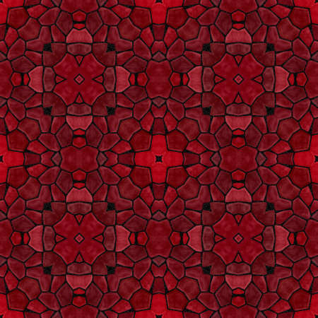 mosaic kaleidoscope seamless pattern texture background - burgundy red and maroon colored with black grout