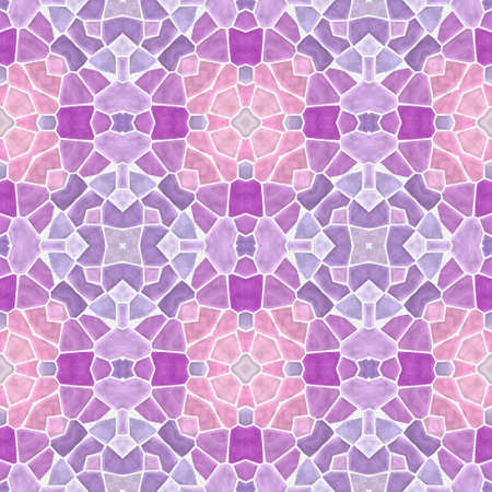 mosaic kaleidoscope seamless pattern texture background - cute baby pink, lavender purple, violet, mauve, lilac and orchid colored with white grout Stock Photo