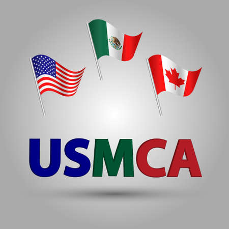 vector set of three waving american, canadian and mexican flags on silver pole - the united states of America Mexico Canada Agreement with 3d blue green red text title USMCA