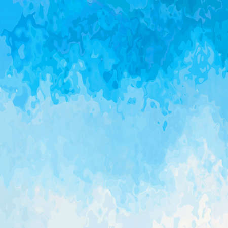 abstract stained pattern texture square background sky blue white color - modern painting art - watercolor splotch effect Stock Photo
