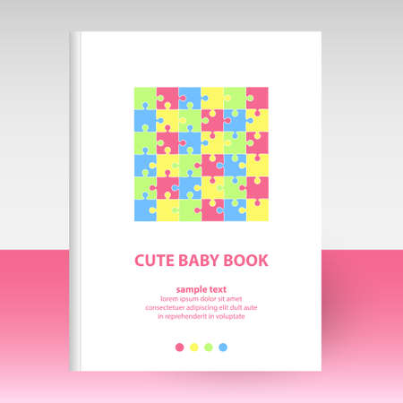vector cover of diary or notebook white hardcover - format A4 layout brochure concept - baby puzzle pattern - pastel colors pink, blue, yellow and green