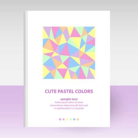 vector cover of diary or notebook white hardcover - format A4 layout brochure concept - cute pastel colored with polygonal triangle pattern - pink, violet, yellow, green, blue and orange color Stock Illustratie