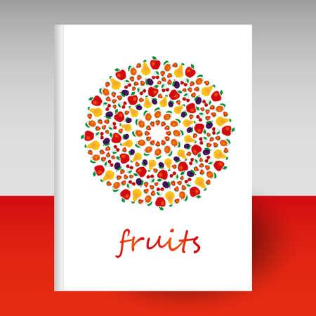 copertina vettoriale di diario o quaderno copertina rigida bianca - formato A4 layout brochure concept - frutta variegata mandala tonda - mela, pera, fragola, prugna, albicocca e ciliegia Vettoriali