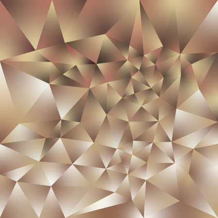 vector abstract irregular polygonal square background - triangle low poly pattern - rose gold pink beige brown color