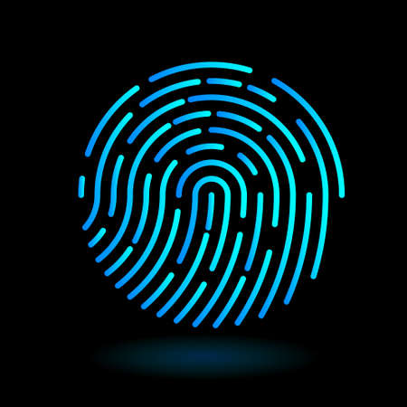 vector round icon fingerprint - symbol of finger in line art design on black background - neon blue cyan color Stock Illustratie