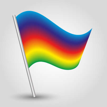 vector waving simple rainbow colored flag on slanted silver pole - symbol of pride with metal stick - full color spectrum horizontal striped 일러스트