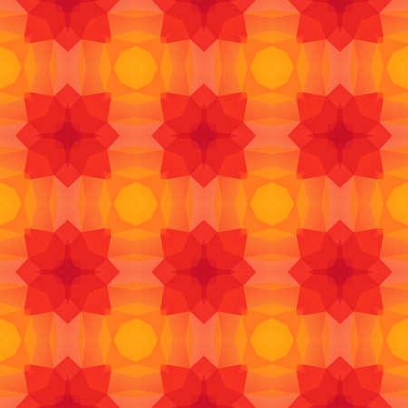 mosaic kaleidoscope seamless pattern texture background - vibrant red orange yellow colored