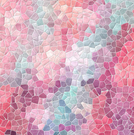 abstract nature marble plastic stony mosaic tiles texture background with gray grout - cute baby pastel colors - pink, blue, purple, violet Banco de Imagens