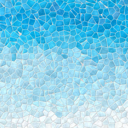 abstract nature marble plastic stony mosaic tiles texture background with gray grout - sky blue white gradient colors