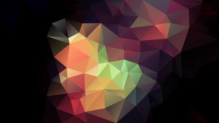 vector abstract irregular polygonal background - triangle low poly pattern - dark black with full color spectrum - green, red, orange, purple