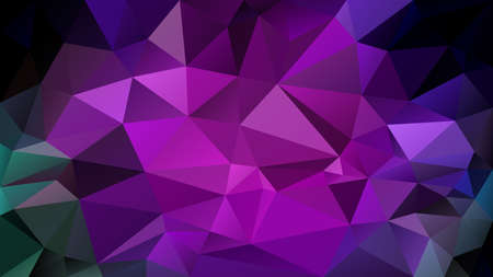 vector abstract irregular polygonal background - triangle low poly pattern - dark neon green, blue, purple, violet, magenta, orchid, fuchsia color Illustration