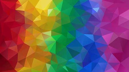 Vector de fondo poligonal irregular abstracto - triángulo patrón de baja poli - arco iris de espectro de color completo a rayas verticales