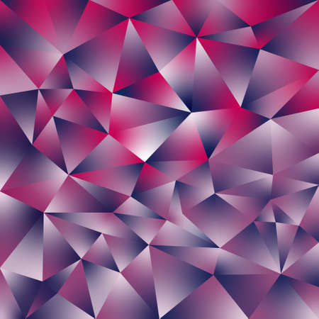 vector abstract irregular polygonal square background - triangle low poly pattern - holographic blue, pink, magenta, purple and white color with diamnod shine Illustration