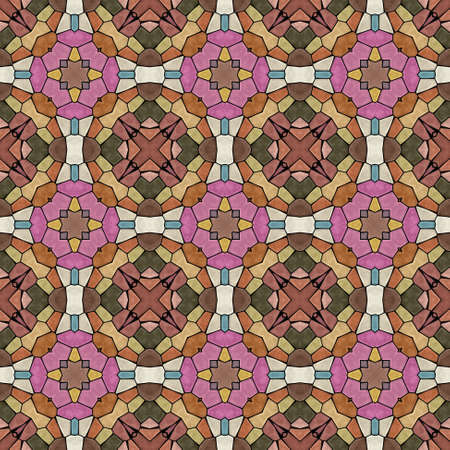 mosaic kaleidoscope seamless pattern texture background - beige, brown, mauve, pink, khaki, yellow, ivory and blue colored with black grout