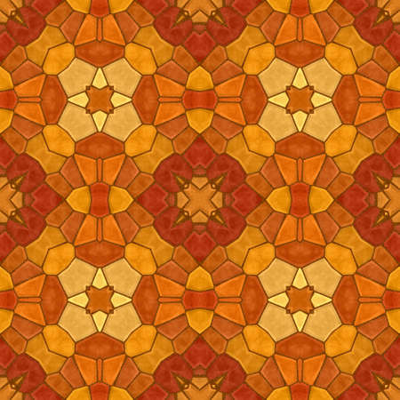 mosaic kaleidoscope seamless pattern texture background - orange red colored with brown grout