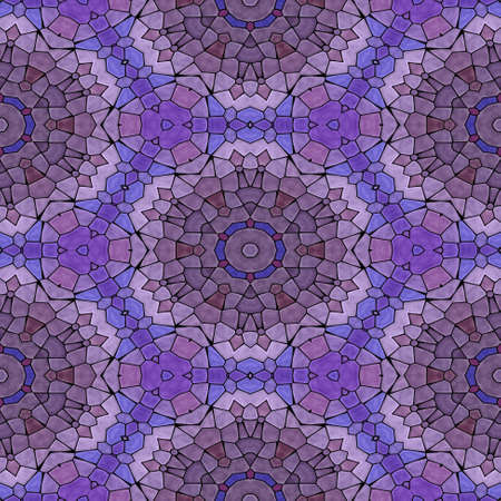 mosaic kaleidoscope seamless pattern texture background - purple, violet, mauve and blue colored with black grout
