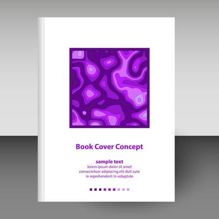 vector cover of diary or notebook hardcover - format A4 layout brochure concept - purple violet colored with paper cut  3D effect Stock Illustratie