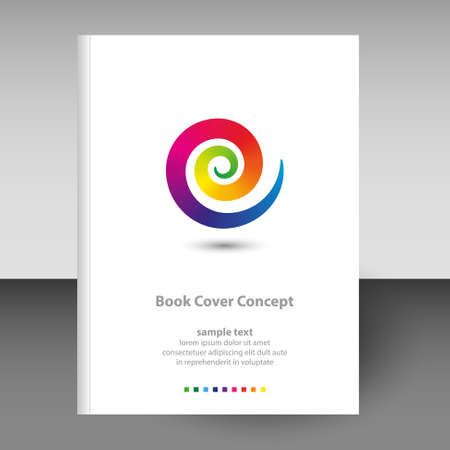vector cover of diary or notebook hardcover - format A4 layout brochure concept - full color spectrum rainbow colored spiral design element