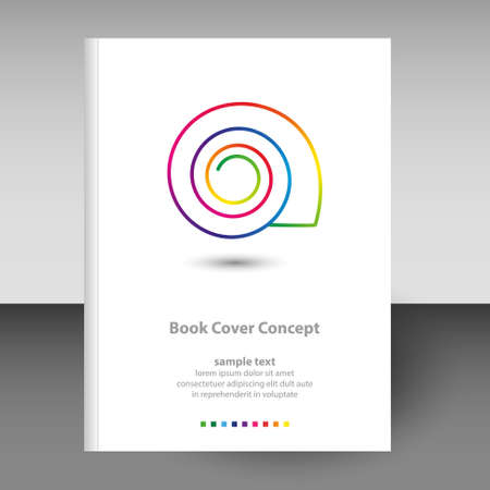 vector cover of diary or notebook hardcover - format A4 layout brochure concept - shell line art icon rainbow full color spectrum colored