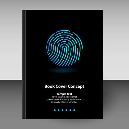 vector cover of diary or notebook hardcover - format A4 layout brochure concept - black colored with neon duotone icon of fingerprint Stockfoto - 126061963
