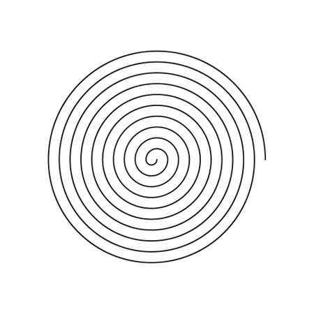 vector simple line art linear spiral icon - black and white Çizim
