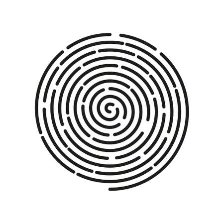 vector simple line art linear spiral icon of finger print - black and white Illustration