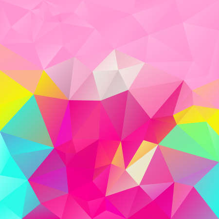 vector abstract irregular polygon square background - triangle low poly pattern - trendy hot pink, cyan, magenta, yellow, green, blue colors