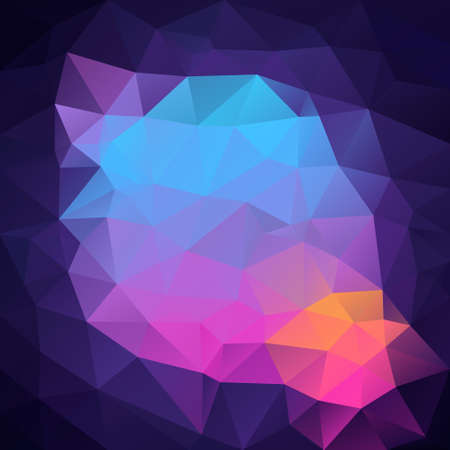 vector abstract irregular polygon square background - triangle low poly pattern - futuristic dark purple violet neon pink orange and blue colors