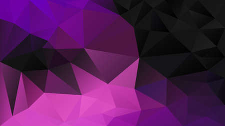 vector abstract irregular polygon background - triangle low poly pattern - black neon hot pink magenta purple ultra violet fuchsia color Ilustrace