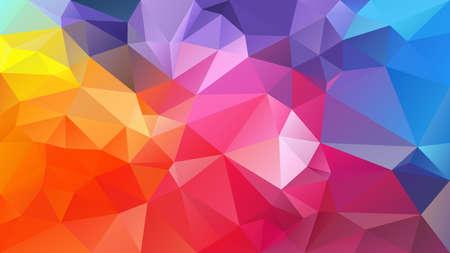 Vektor abstrakter unregelmäßiger Polygonhintergrund - Dreieck-Low-Poly-Muster - Neon-Vollspektrum-Multicolor-Regenbogen