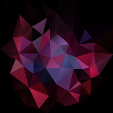 Vector de fondo cuadrado abstracto polígono irregular - triángulo patrón de baja poli - negro violeta violeta ultravioleta rojo burdeos color granate