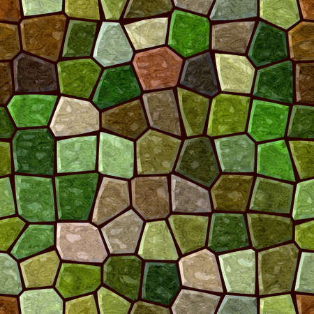 surface floor marble mosaic pattern seamless background with dark brown grout - grass green khaki beige mint color