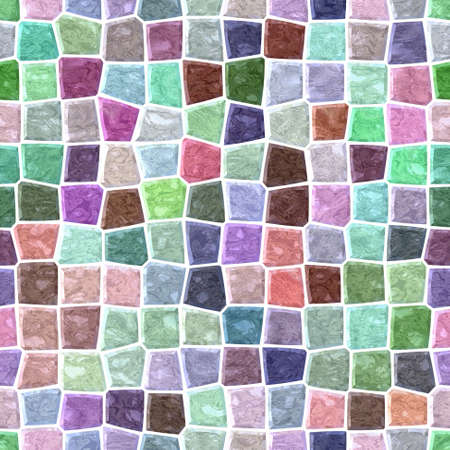 surface floor marble mosaic pattern seamless background with white grout - light pastel full color spectrum - colorful