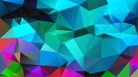 vector abstract irregular polygon background - triangle low poly pattern - full colored spectrum - neon cyan turquoise blue green color 일러스트
