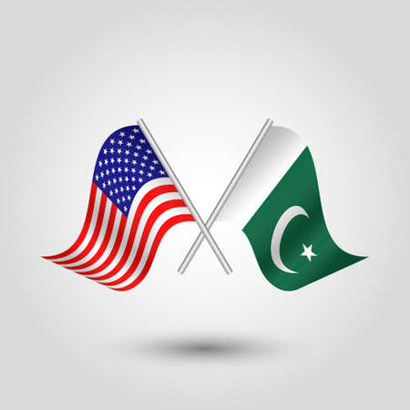 vector two crossed american and pakistani flags on silver sticks - symbol of united states of america and pakistan Banco de Imagens - 118062664