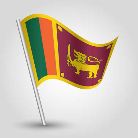 vector waving simple triangle sri lankan flag on slanted silver pole - symbol of sri lanka with metal stick
