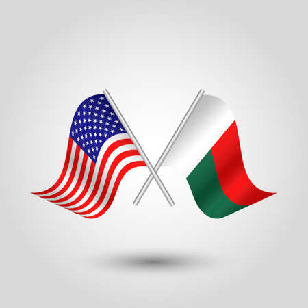 vector two crossed american and malagasy flags on silver sticks - symbol of united states of america and republic of madagascar
